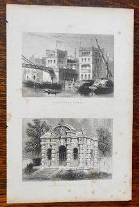 Antique Engraving Print, Hungerford Market; Buckingham Water Gate, 1850