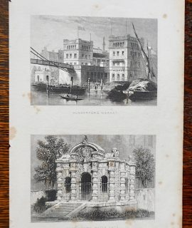 Antique Engraving Print, Hungerford Market; Buckingham Water Gate, 1850