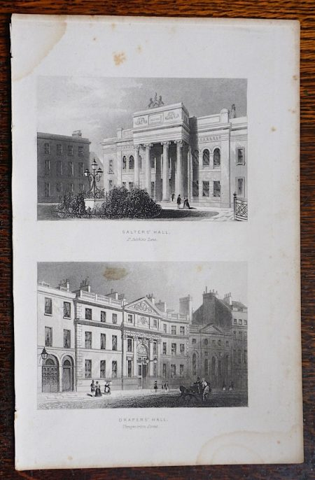 Antique Engraving Print, Salters' Hall; Drapers' Hall, 1850