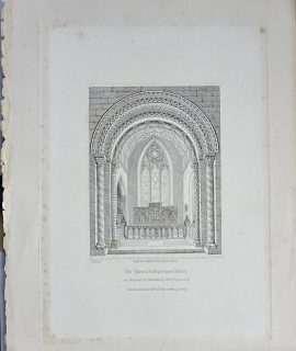 Antique Print, The Chancel in Peper-Bara Church, 1850