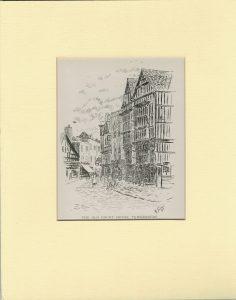 Rare Vintage Print, The Old Court House Tewkesbury, H. E. Thomson, 1900