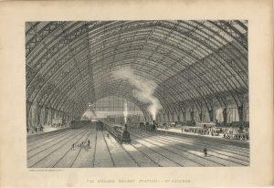 Antique Print, The Midland Railways Station, St. Pancras, 1880