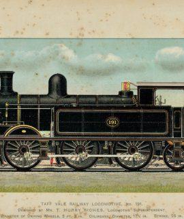 Vintage Print, Taff Vale Railway Locomotive, 1901