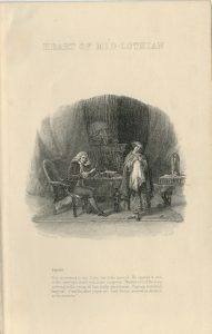 Lot of 2 Antique Engraving Prints, Heart of Mid-Lothian, 1860