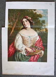 Antique Print, Summer, from a painting by C. Baxter, 1859