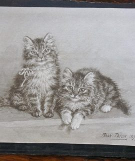 Antique Watercolor, Two Little Kittens, by Frank Paton, 1899