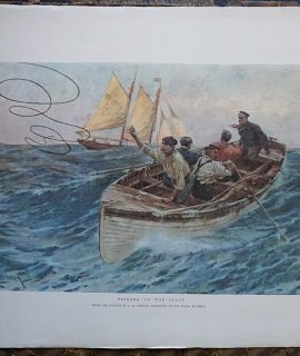 Vintage Print, Wintry Weather, from the picture by Ernest Dade, 1908