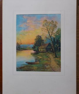 Vintage Print, Autumn Sunset, by W.M. Thompson, 1910