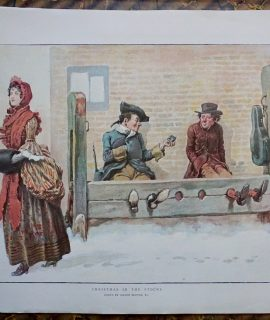 Rare Vintage Print, Christmas in the Stocks, by Gordon Browne, 1900
