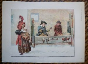 Rare Vintage Print, Christmas in the Stocks, by Gordon Browne, 1900