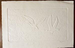 Original Vintage Collagraph, Gulls, signed
