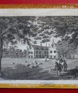 Antique Engraving Print, Cossey Hall, Norfolk, 1812