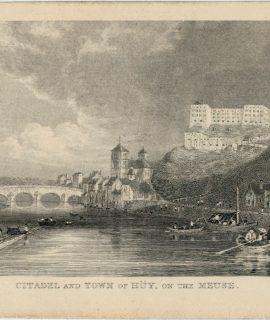 Antique Print, Citadel ant Town of Hüy, on the Meuse, 1860 ca.