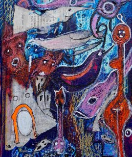 The Wuhan Market, mixed media on canvas by Mary Blindflowers©