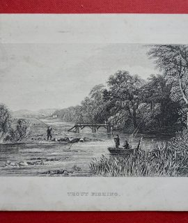 Antique Print, Trout Fishing, 1860 ca.