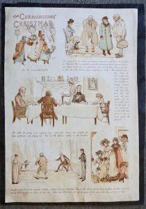 Antique Print, The Curmudgeons' Christmas by R. Calderott; differents print, 1880 ca.
