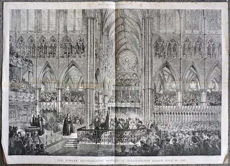 Antique Print, The Jubilee Thanksgiving Service in Westminster Abbey, June 21, 1887