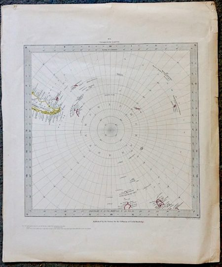 Antique Map, Circumjacent the South Pole, 1831