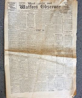 Rare Original West Herts & Watford Observer, Friday, March 19, 1937
