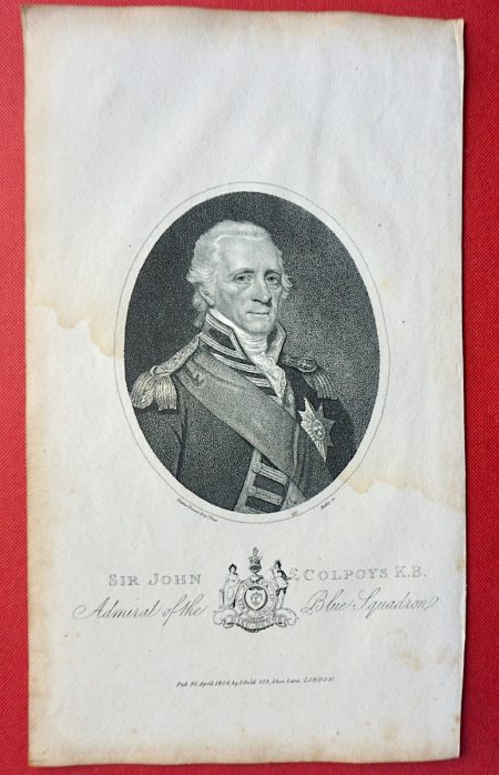 Antique Engraving Print, Sir John Colpoys K.B. 1804