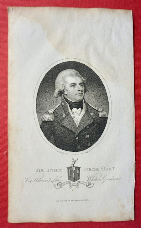 Antique Engraving Print, Sir John Orde Bart. 1804
