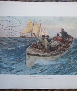 Antique Print, Picking up the Pilot, by C.M. Padday, 1899