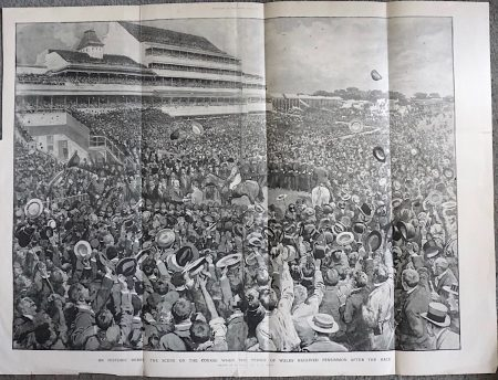 A Historic Derby, the Scene on the Course when the Prince of Wales received Persimmon after the Race. Illustration for The Graphic, 13 June 1896
