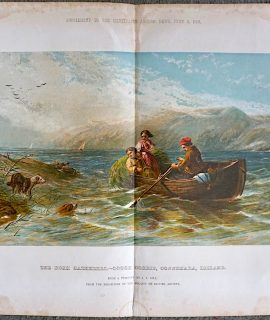 Vintage Print, The Rush Catherers, Lough Corrie, Connemara, Ireland, 1860