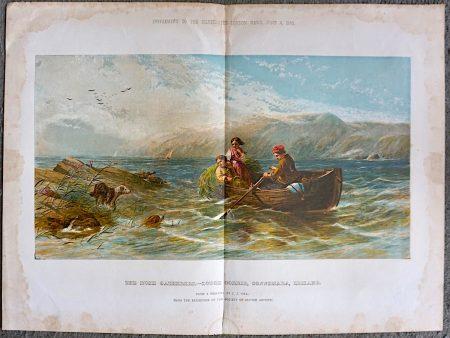 Vintage Print, The Rush Catherers, Lough Corrie, Connemara, Ireland, 1860