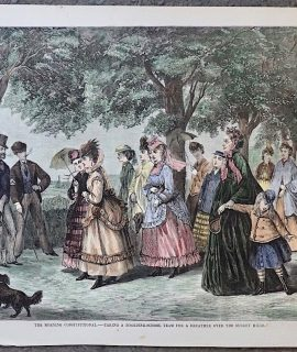 Antique Print, The Morning Constitutional, 1871