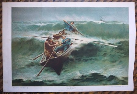 Rare Antique Print, The Pilot, from the picture by E. Renouf, 1880