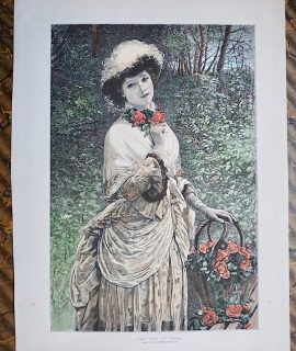 Antique Print, The Time of Roses; Advertisement, 1885