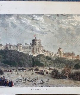 Rare Antique Print, Windsor Castle, 1871