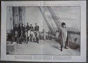 Vintage Print, Napoleon the Last Phase on Board the Bellerophon, 1900