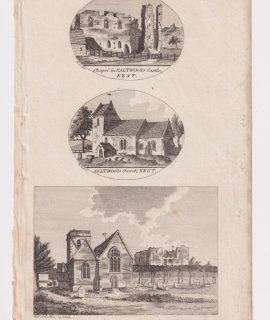 Antique Engraving Print, View of St. Mildred's Church & the Castle of Canterbury, 1803