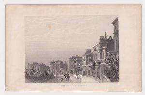 Antique Engraving Print, Highbury Crescent, 1840 ca.