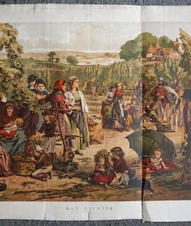Antique Print, Hop Picking, from a picture by A. Hunt, 1867