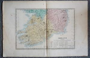 Antique Map, Ireland, engraved by J.& C. Walker, 1860 ca.