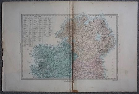 Antique Map Ireland North Sheet, List of Round Towers, 1874
