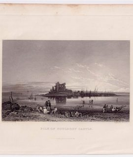 Antique Engraving Print, Pile of Fouldrey Castle, 1845