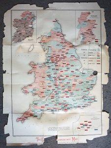 Rare Antique Parliamentary Map, 1880