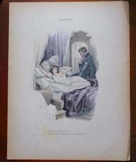 Antique Print, Madrigal, by Ferdinand Bac, 1890