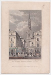 Antique Engraving Print, St. Bride's Avenue, Fleet Street, 1829