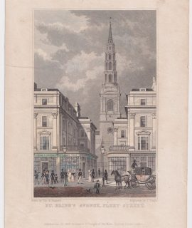 Antique Engraving Print, St. Bride's Avenue, Fleet Street, 1829