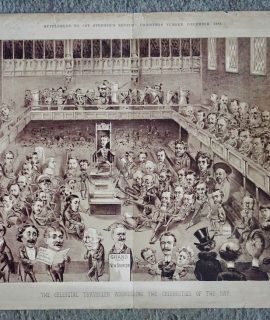 Antique Print, The Celestial Traveller Addressing the Celebrities of the Day, 1883