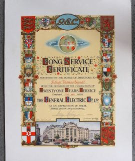 The General Electric Co. Ltd, Long Service Certificate, 1956