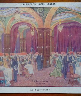 "Rare Antique Print, ""The Restaurant Claridges"", 1890"