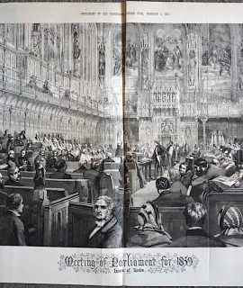 Antique print, Meeting of Parliament for 1859, House of Lords