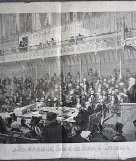 Antique Print, The Ministerial Side of the House of Commons, 1854