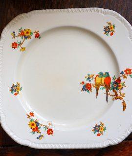Art Deco Staffordshire Parrots & Floral No: 771239 Cake Plate 1934
